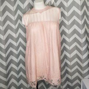2/$20 WORTHINGTON pink lace tank